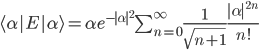 \langle \alpha | E | \alpha \rangle = \alpha e^{-|\alpha|^2} \sum_{n=0}^{\infty}\frac{1}{\sqrt{n+1}} \frac{|\alpha|^{2n}}{n!}