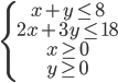 \left\{ \matrix{x + y \le 8 \hfill \cr 2x + 3y \le 18 \hfill \cr x \ge 0 \hfill \cr y \ge 0 \hfill \cr} \right.