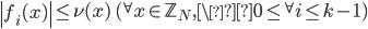 \left|f_i(x)\right| \leq \nu(x) \quad ({}^{\forall}x \in \mathbb{Z}_N, \0 \leq {}^{\forall}i \leq k-1)