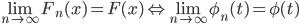 \lim_{n\to\infty}F_n(x)=F(x)\Leftrightarrow \lim_{n\to\infty}\phi_n(t)=\phi(t)