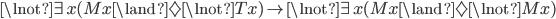 \lnot\exists x(Mx\land\Diamond\lnot Tx) \rightarrow \lnot\exists x(Mx\land\Diamond\lnot Mx)