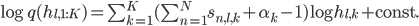 \log q(h_{l,1:K}) =\sum_{k=1}^{K}( \sum_{n=1}^{N}s_{n,l,k} +\alpha_k-1) \log h_{l,k} + \mathrm{const.}