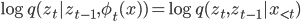 \log q(z_t | z_{t-1},\phi_t(x)) = \log q(z_t,z_{t-1} | x_{\lt t})