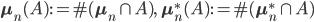 \mathbf{\mu}_n(A):= \#(\mathbf{\mu}_n\cap A), \ \ \mathbf{\mu}^*_n(A):= \#(\mathbf{\mu}^*_n\cap A)