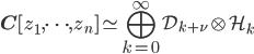 \mathbf{C}[z_1,\cdots , z_n] \simeq \displaystyle \bigoplus_{k=0}^{\infty} \mathcal{D}_{k+\nu} \otimes \mathcal{H}_{k}