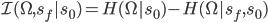 \mathcal{I}(\Omega,s_f|s_0) = H(\Omega | s_0) - H(\Omega | s_f,s_0)