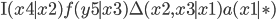 \mathrm{I}(x4 \mid x2) f(y5\mid x3)\Delta(x2, x3\mid x1) a(x1\mid \ast)