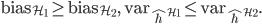 \mathrm{bias}_{\mathcal{H}_{1}}\ge\mathrm{bias}_{\mathcal{H}_{2}},\quad\mathrm{var}_{\hat{h}^{\mathcal{H}_{1}}}\le\mathrm{var}_{\hat{h}^{\mathcal{H}_{2}}}.