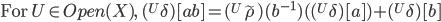 \mbox{For }U\in Open(X),\; ({}^U \delta)[a b] = ({}^U\tilde{\rho})(b^{-1})( ({}^U\delta)[a]) + ({}^U\delta)[b]