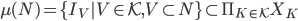\mu(N)=\{I_V| V \in \mathcal{K},V\subset N \}\subset \Pi_{K\in \mathcal{K}} X_K