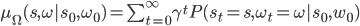 \mu_\Omega(s,\omega | s_0,\omega_0) = \sum_{t=0}^\infty \gamma^t P(s_t = s,\omega_t = \omega | s_0,w_0)