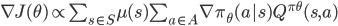 \nabla J(\theta) \propto \sum_{s\in{S}}\mu(s)\sum_{a\in{A}}\nabla \pi_{\theta}(a|s)Q^{\pi\theta}(s, a)