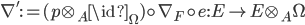 \nabla' := (p\otimes_A \id_\Omega)\circ \nabla_F \circ e: E \to E\otimes_A \Omega