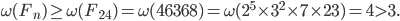 \omega(F_n) \geq \omega(F_{24}) = \omega(46368) = \omega(2^5 \times 3^2 \times 7 \times 23) = 4 > 3.