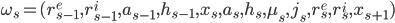 \omega_s=(r^e_{s-1}, r^i_{s-1}, a_{s-1}, h_{s-1}, x_s, a_s, h_s, \mu_s, j_s, r^e_{s}, r^i_{s}, x_{s+1})