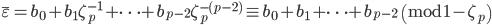 \overline{\varepsilon} = b_0+b_1\zeta_p^{-1}+\cdots + b_{p-2}\zeta_p^{-(p-2)} \equiv b_0+b_1+\cdots +b_{p-2} \pmod{1-\zeta_p}