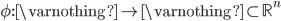 \phi:\varnothing\to\varnothing\subset\mathbb{R}^n