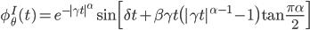 \phi_\theta^I(t) = e^{-|\gamma t|^\alpha} \sin \Bigl[ \delta t + \beta \gamma t \bigl( |\gamma t|^{\alpha - 1} - 1 \bigr) \tan \frac{\pi \alpha}{2}\Bigr]