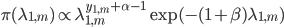 \pi(\lambda_{1,m}) \propto \lambda_{1,m}^{y_{1,m}+\alpha-1}\exp(-(1+\beta)\lambda_{1,m})