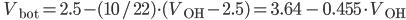 \qquad V_{\rm bot} = 2.5 - (10/22)\cdot(V_{\rm OH} - 2.5)=3.64\,-\,0.455\cdot V_{\rm OH}
