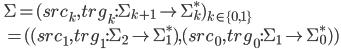 \quad \Sigma = (src_k, trg_k:\Sigma_{k + 1} \to \Sigma_k^*)_{k \in \{0, 1\}}\\ \qquad = ( (src_1, trg_1:\Sigma_2 \to \Sigma_1^*), (src_0, trg_0:\Sigma_1 \to \Sigma_0^*) )