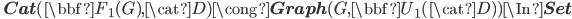 \quad {\bf Cat}(\bbf{F}_1(G), \cat{D}) \cong {\bf Graph}(G, \bbf{U}_1(\cat{D})) \In {\bf Set}