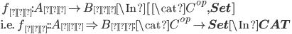 \quad f_{米}: A_{米} \to B_{米} \In [\cat{C}^{op}, {\bf Set}] \\ \text{i.e.  }  f_{米}:: A_{米} \Rightarrow B_{米} : \cat{C}^{op} \to  {\bf Set}\In {\bf CAT}