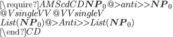 \require{AMScd} \begin{CD} {\bf NP}_0   @>{anti}>>  {\bf NP}_0 \\ @V{single}VV             @VV{single}V \\ List({\bf NP}_0) @>{Anti}>>  List({\bf NP}_0) \\ \end{CD}
