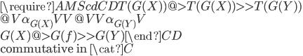 \require{AMScd} \begin{CD} T(G(X)) @>{T(G(X))}>> T(G(Y)) \\ @V{\alpha_{G(X)}}VV   @VV{\alpha_{G(Y)}}V \\ G(X)    @>{G(f)}>>    G(Y) \end{CD}\\ \mbox{commutative in }\cat{C}