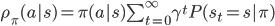 \rho_\pi(a s) = \pi(a s) \sum_{t=0}^{\infty} \gamma^t P(s_t = s   \pi)