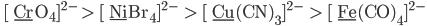 \rm{ [\ \underline{Cr}O_4]^{2-}  >  [\ \underline{Ni}Br_4]^{2-}    >  [\ \underline{Cu}(CN)_3]^{2-}    >  [\ \underline{Fe}(CO)_4]^{2-} }