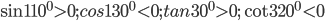 \sin {110^0} > 0;cos{130^0} < 0;tan{30^0} > 0;\cot {320^0} < 0