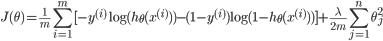 \small{\displaystyle{J(\theta) = \frac{1}{m} \sum_{i=1}^m [ -y^{(i)} \log(h_{\theta} (x^{(i)})) - (1-y^{(i)}) \log(1-h_{\theta}(x^{(i)}))] + \frac{\lambda}{2m} \sum_{j=1}^n \theta_j^2}}