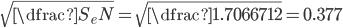 \sqrt{\dfrac{S_e}{N}} =\sqrt{\dfrac{1.70667}{12}} = 0.377