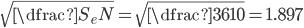 \sqrt{\dfrac{S_e}{N}} =\sqrt{\dfrac{36}{10}} = 1.897