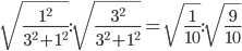 \sqrt{\frac{1^2}{3^2+1^2}}:\sqrt{\frac{3^2}{3^2+1^2}}=\sqrt{\frac{1}{10}}:\sqrt{\frac{9}{10}}