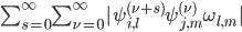\sum_{s= 0}^{\infty} \sum_{\nu= 0}^{\infty} | \psi_{i, l}^{(\nu + s)} \psi_{j, m}^{(\nu)} \omega_{l, m} |