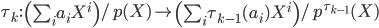 \tau_k\,:\,\left(\sum_ia_iX^i\right)/p(X) \mapsto \left(\sum_i\tau_{k-1}(a_i)X^i\right)/p^{\tau_{k-1}}(X)