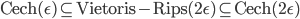 \text{Cech}(\epsilon) \subseteq \text{Vietoris-Rips}(2\epsilon) \subseteq \text{Cech}(2\epsilon)