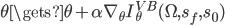 \theta \gets \theta + \alpha \nabla_\theta I_\theta^{VB}(\Omega,s_f,s_0)