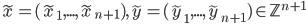 \tilde{x} = (\tilde{x} _ 1,...,\tilde{x} _ {n+1}),\tilde{y}=(\tilde{y} _ 1,...,\tilde{y} _ {n+1}) \in \mathbb{Z} ^ {n+1}