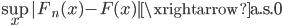 \underset{x}{\rm sup}|F_n(x) - F(x)| \xrightarrow{\rm a.s.} 0