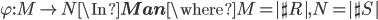 \varphi:M \to N \In {\bf Man} \where M = |\sh{R}|, N = |\sh{S}|