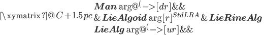 \xymatrix @C+1.5pc{    {\bf Man} \ar@{^{(}->}[dr]    & {}     & {} \\    {}    &{\bf LieAlgoid} \ar[r]^{StdLRA}    &{\bf LieRineAlg} \\    {\bf LieAlg}  \ar@{^{(}->}[ur]    & {}     & {} }