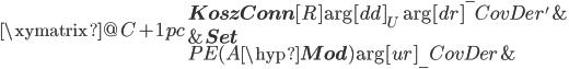 \xymatrix @C+1pc{   { {\bf KoszConn}[R] } \ar[dd]_{U} \ar[dr]^-{CovDer'}   &{} \\   {}   &{ {\bf Set}  } \\   { PE(A\hyp{\bf Mod}) }  \ar[ur]_-{CovDer}   &{} }