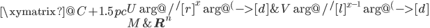 \xymatrix@C+1.5pc{  {U} \ar@/^/[r]^{x} \ar@{^{(}->}[d]  &{V} \ar@/^/[l]^{x^{-1}} \ar@{^{(}->}[d] \\  {M}  &{ {\bf R}^n} }