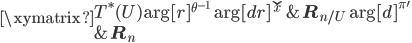 \xymatrix{   {T^\ast(U)} \ar[r]^{\theta^{-1}} \ar[dr]^{\check{x}}    & { {{\bf R}_n}_{/U} } \ar[d]^{\pi'} \\   {} &  { {\bf R}_n } }