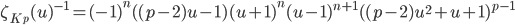\zeta_{K_p}(u)^{-1} = (-1)^n ((p-2)u -1) (u+1)^n (u-1)^{n+1} ((p-2)u^2+u+1)^{p-1}