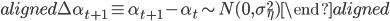 { \begin{aligned} \Delta \alpha_{t+1} \equiv \alpha_{t+1} - \alpha_t \sim N(0, \sigma_\eta^2) \end{aligned} }