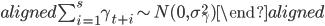 { \begin{aligned} \sum_{i=1}^{s}\gamma_{t+i} \sim N(0, \sigma_\gamma^2) \end{aligned} }